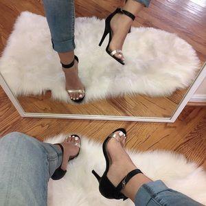 Anne Michelle Heels Black & Silver Strap size 7